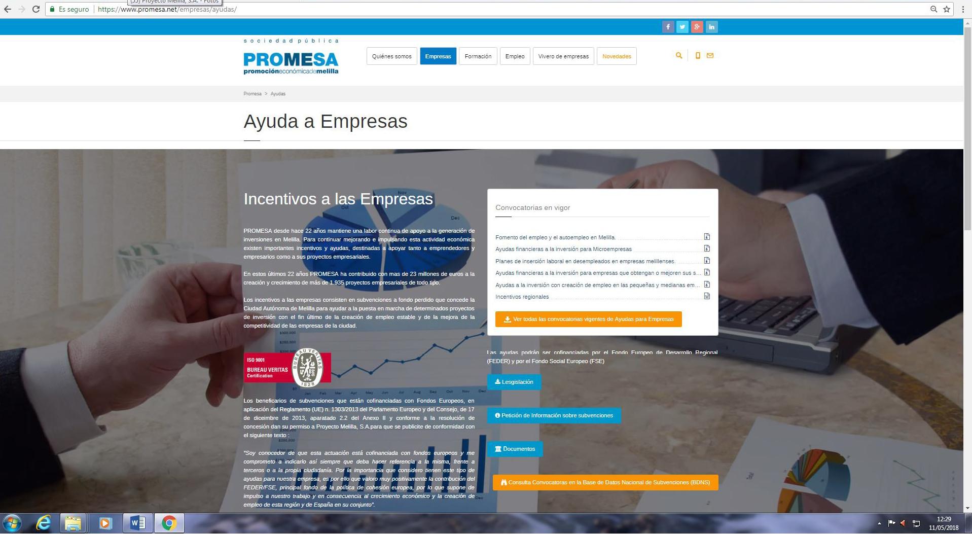 FIN DEL PRIMER PLAZO DE SOLICITUD DE LAS AYUDAS DE PROYECTO MELILLA